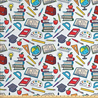Ambesonne School Fabric by The Yard, Elementary School Theme Student Supplies Globe Paints and Brushes Books Education, Decorative Fabric for Upholstery and Home Accents, 1 Yard, Blue Red