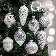 Valery Madelyn 10ct Frozen Winter Glass Christmas Ball Ornaments Silver and White,Themed with Tree Skirt(Not Included)