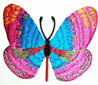 HHO Pink Butterfly Wild Animal Punk Rock Hippie Patch Embroidered DIY Patches, Cute Applique Sew Iron on Kids Craft Patch for Bags Jackets Jeans Clothes