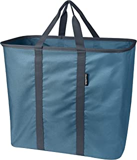 CleverMade Collapsible Laundry Tote, Large Foldable Clothes Hamper Bag, LaundryCaddy CarryAll XL Pop Up Storage Basket with Handles, Denim/Charcoal