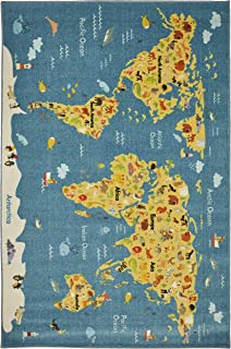Mohawk Home Prismatic Animal Map By Country Printed Contemporary Kids Area Rug, 8'x10', World