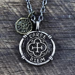 Carpe Diem Necklace Mens Jewelry Necklace Black Chain Carpe Diem Pendant Silver Coin Necklace Men's Necklace Mens Gift Necklace For Men Jewelry For Men Boyfriend Gift Man Necklace Black Necklace Men