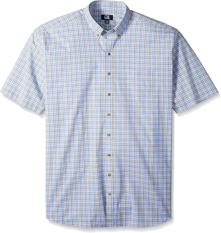 Cutter & Buck Men's Big and Tall Short Sleeve Sail Check Shirt
