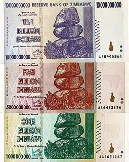 1, 5, 10 Billion Dollar Zimbabwe Banknotes Circulated