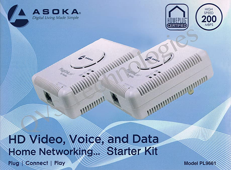 2 Asoka PlugLink ETH-200 Mbps HomePlug Powerline Ethernet Adapter - 9661-I3 (2 Units)