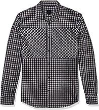 A|X Armani Exchange قميص رجالي قطني بأكمام طويلة بزر سفلي قميص ذو لوحة صدر