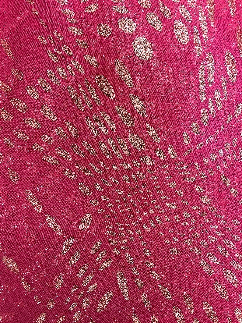Fancy Azalea Rassbery Tulle Fabric with lt. pink Glitter Design ~ 2 Yds~58