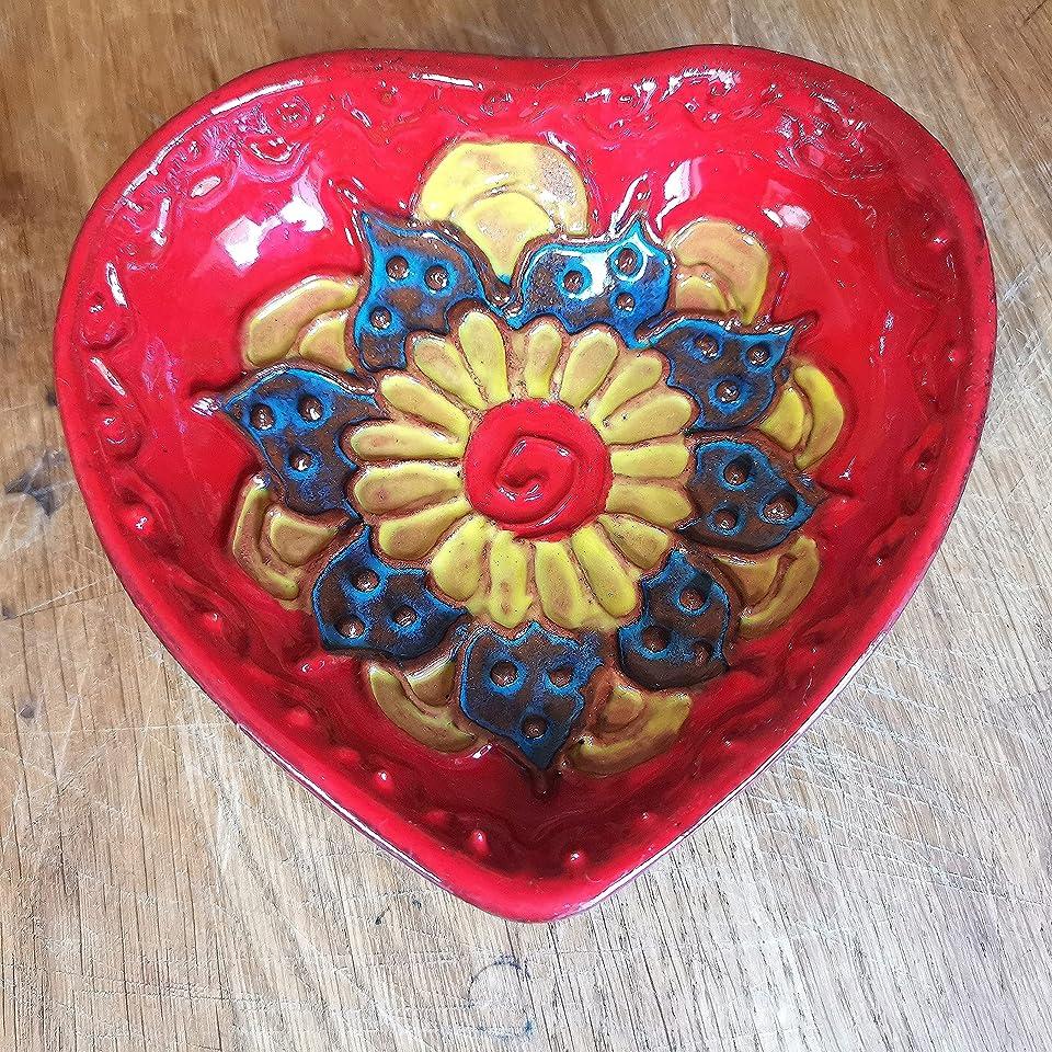Herz Trinket Halter/Ring Manschettenknöpfe Geschirr/Herzförmige Keramikschale/Jubiläumsgeschenk für sie oder ihn/Henna Style Keramikschale/Liebestablett