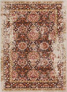 Well Woven Modern Weave Distressed Traditional Vintage Persian Floral Brown Beige Dusty Pink 5x7 (5'3