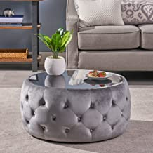Christopher Knight Home Ivy Glam Velvet and Tempered Glass Coffee Table Ottoman, Smoke, Black