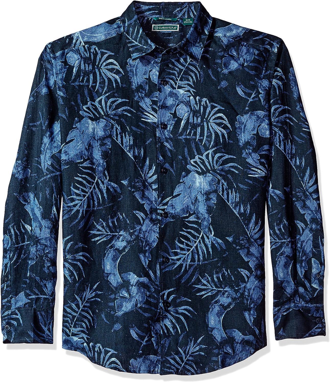 Cubavera Men's Long Sleeve 100% Linen Tropical Print Button-Down Shirt