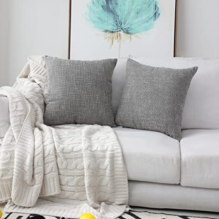 Kevin Textile Faux Linen Square 2 Tone Woven Throw Pillow Sham Cushion Case Covers For Car Couch Use 18 Inch 2 Packs Grey Home Kitchen