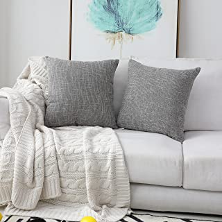 Kevin Textile Faux Linen Square 2 Tone Woven Throw Pillow Sham Cushion Case Covers for Car/Couch Use, 18-inch(2 Packs, Grey)