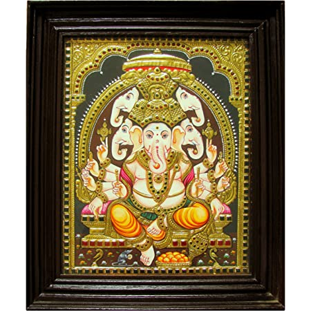 Chola Impressions Ganesh Tanjore Painting 13 X11 Amazon In Home Kitchen
