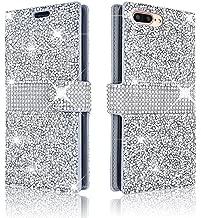 iPhone 7Plus/iPhone 8Plus Wallet Case Shiny Glitter Sparkle Bling Stars Flip Wallet Luxury Case Cover for iPhone 7 Plus/iPhone 8 Plus 5.5 Inch (Silver)