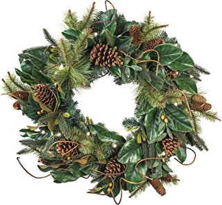 [30 Inch Artificial Christmas Wreath] - Magnolia Leaf Collection - Natural Decoration - Pre Lit with 50 Warm Clear Colored LED Mini Lights - Includes Remote Controlled Battery Pack with Timer