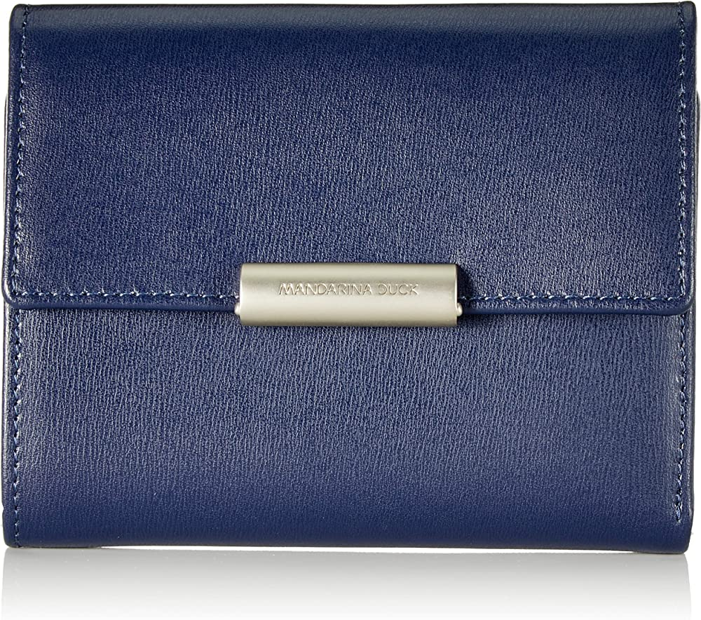 Mandarina duck  hera 3.0, portafoglio, porta carte di credito da donna, in vera pelle, blu P10RAP14B