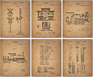 Best Railroad Train Patent Prints - Set of 6 (8 inches x 10 inches) Photos Locomotive Railway Reviews