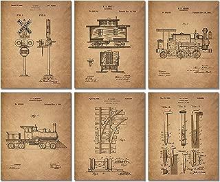 Railroad Train Patent Prints - Set of 6 (8 inches x 10 inches) Photos Locomotive Railway