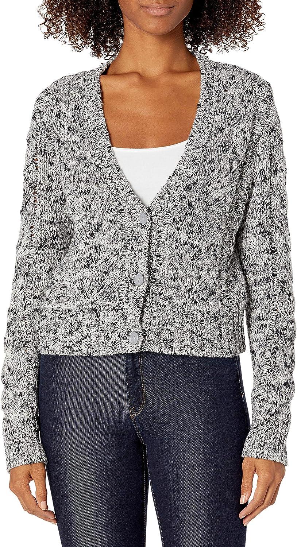 Amazon Brand - Goodthreads Women's Marled Long Sleeve Fisherman Cable Cardigan Sweater