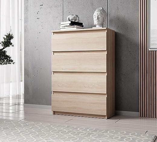 FURNIX Kommode mit 4 Schubladen 70 x 37 x 99 cm in Sonoma Eiche – Schubladenkommode Holz Mehrzweckschrank für Flur Schlafzimmer Wohnzimmer…