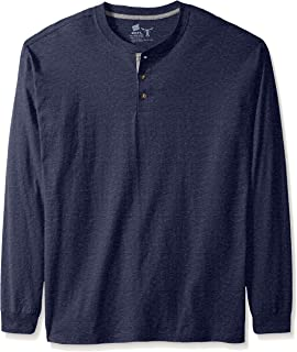 Men's Long-Sleeve Beefy Henley Shirt, Navy Heather, 2X Large