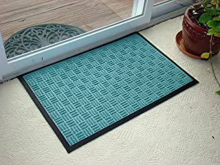 Kempf Water Retainer Entrance Mat, Indoor Outdoor Rubber Rug, Moisture Trapping, Absorbent Mat, 2 by 3-Feet, Green
