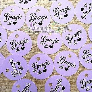 50 pezzi Cartellini Stampati Lilla per bomboniera, 3 centimetri, tag grazie, tondo, etichette, nascita, battesimo, cresima...