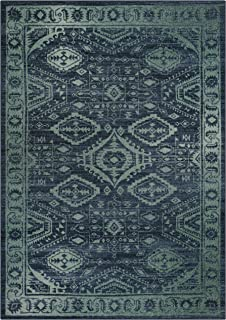 Maples Rugs 5 x 7 Large Area Rugs [Made in USA] for Living Room, Bedroom, and Dining Room, Navy Blue/Green
