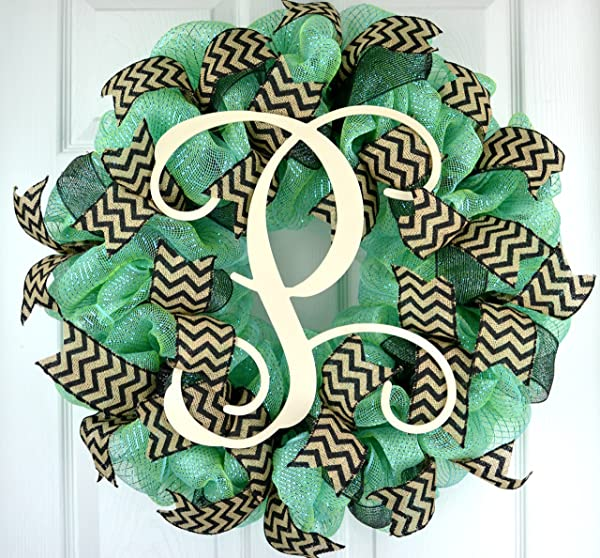 Aquamarine Black Vine Monogram Letter Initial Everyday Year Round Mesh Door Wreath LOTS OF COLORS