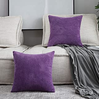 Home Brilliant Set of 2 Decor Supersoft Striped Velvet Corduroy Decorative Euro Sham Throw Pillow Cushion Cover for Couch, Eggplant, (66x66 cm, 26inch)