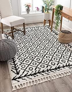 Well Woven Allie Black Moroccan Shag Diamond Trellis Pattern Area Rug 5x7 (5'3