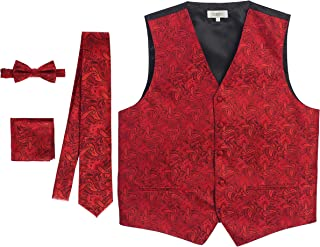 Men's Formal 4pc Paisley Vest Necktie Bowtie and Pocket Square