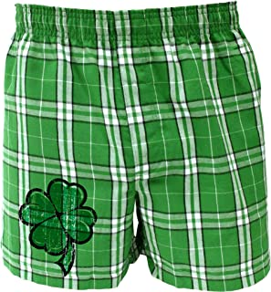 Wanna See My Shillelagh - St Patricks Day Green Tartan Plaid Boxers Shorts