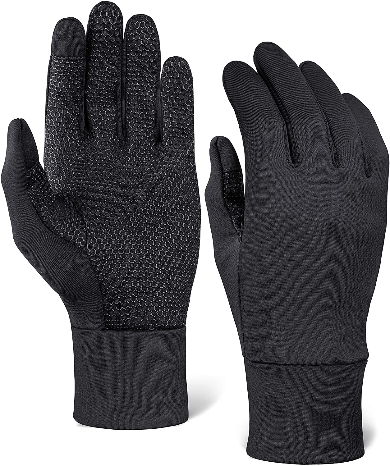 Touch Screen Running Gloves - Winter Glove Liners for Texting, Sports & Exercise - Lightweight Cold Weather Thermal Gloves