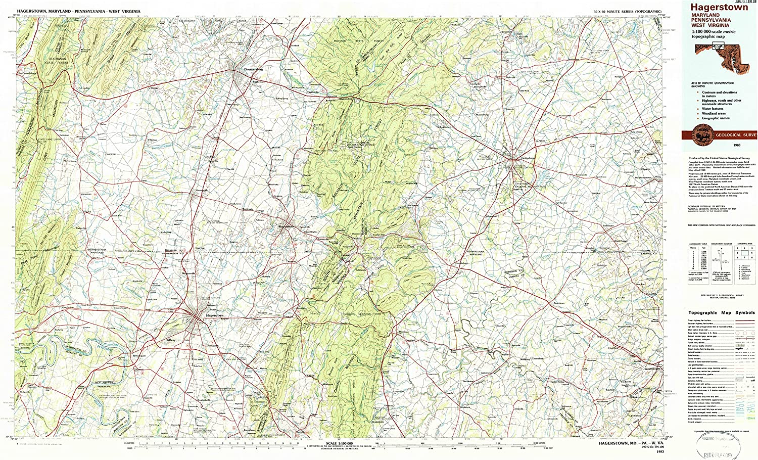 Hagerstown MD topo map, 1 100000 Scale, 30 X 60 Minute, 1983 ...