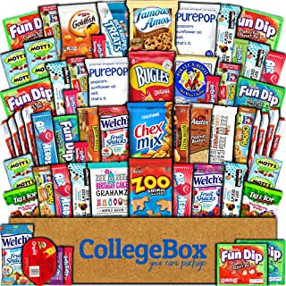 College Box Care Package (60 Count) Snacks Cookies Bars Chips Candy Ultimate Variety Gift Box Pack Assortment Basket Bundle Mixed Sampler Treats College Students Office Fall Back to School Halloween