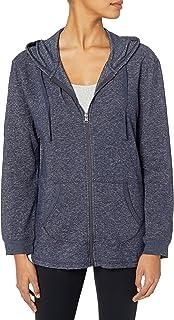 بلوزة هودي بسحاب كامل من قماش فرينش تيري للنساء من هانس