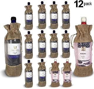 NDN LINE 12 PCS Burlap Wine Gift Bags in Bulk   Organic Jute Bottle Bag with Drawstring (Brown)