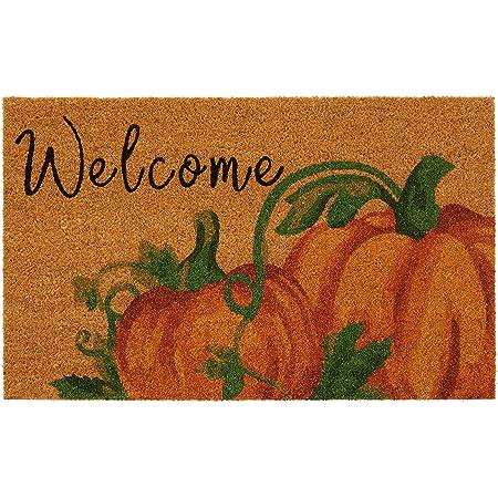 "Elrene Home Fashions Farmhouse Living Coir Outdoor Doormat, Natural Entry Mat, Front Door Decor, 18""x30"", Welcome Pumpkin"