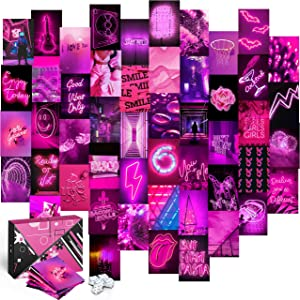 KOLL DECOR Pink wall collage kit - 50 Set 4''x6'' Prints Aesthetic wall images neon posters hot pink wall decor Room Collage Decoration for Teen Girls