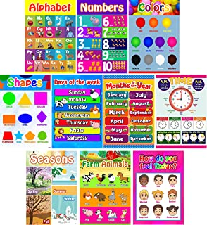 Educational Posters for Preschoolers, Toddlers, Kids, Kindergarten Classrooms | Fun Early Learning for Alphabet Letters, Numbers, Shapes, Colors, Seasons, Emotions, Days, Months, More (Set of 10).