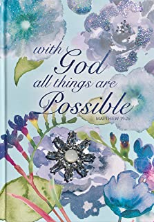 Pooch & Sweetheart Blue Floral Glitter Brooch Embellished Scripture Hardcover Journal, With God all things are Possible, Matthew 19:26 (74341)