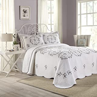 Modern Heirloom Collection Gwen Cotton Filled Bedspread, Queen, 102 by 118-Inch