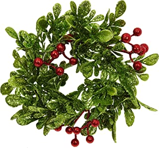 RAZ Imports Glittered Holly Berry 3 Inch Decorative Pillar Candle Ring