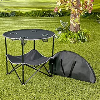 Portable Folding Picnic Table with Bench Storage for Tailgating - Black