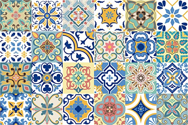 GSS Designs 24 PC Pack Traditional Mexican Talavera Tile Stickers For Bathroom Kitchen Backsplash Decoration 4x4 Inch 10x10cm Waterproof Removable Wall Sticker Decals TS24 005