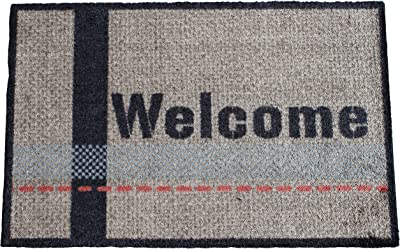 Dandy by William Armes, Welcome Design Non-Slip Deco Soft Mat, Grey, 75 x 50