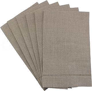 "CleverDelights Natural Linen Hemstitched Hand Towels - 6 Pack - 14"" x 22"" - 100% Linen Tea Towels"