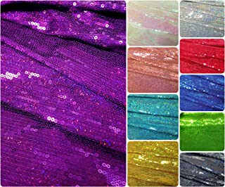 b07e23bef6d 3mm Micro Mini Holographic Sequins on Stretch Polyester Spandex Jersey  Fabric (Purple)